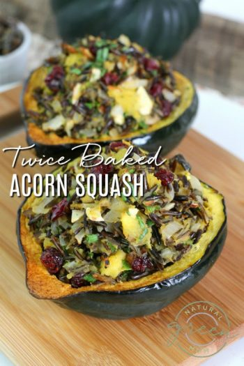 Side by side view of twice baked acorn squash recipe