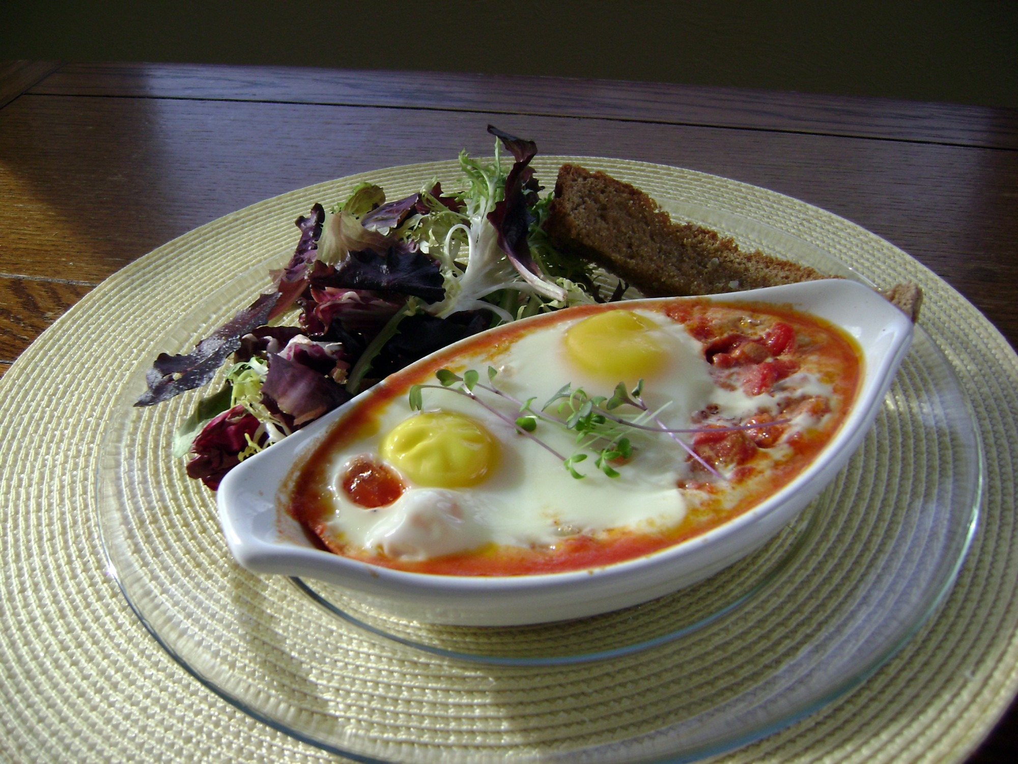 ... with baked tomato sauce baked eggs in chunky tomato eggs baked in
