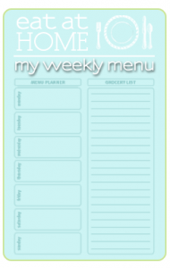 Eat at Home Menu Planner