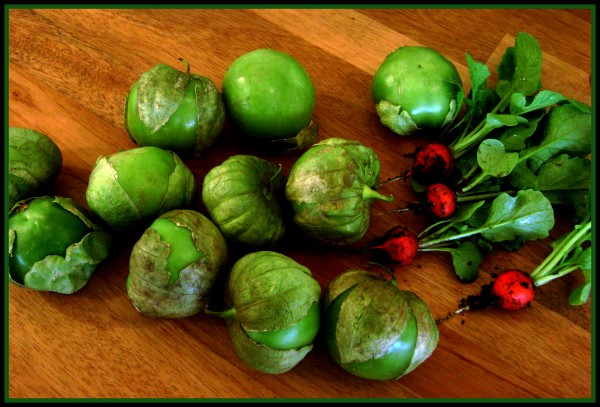 tomatillos and radishes