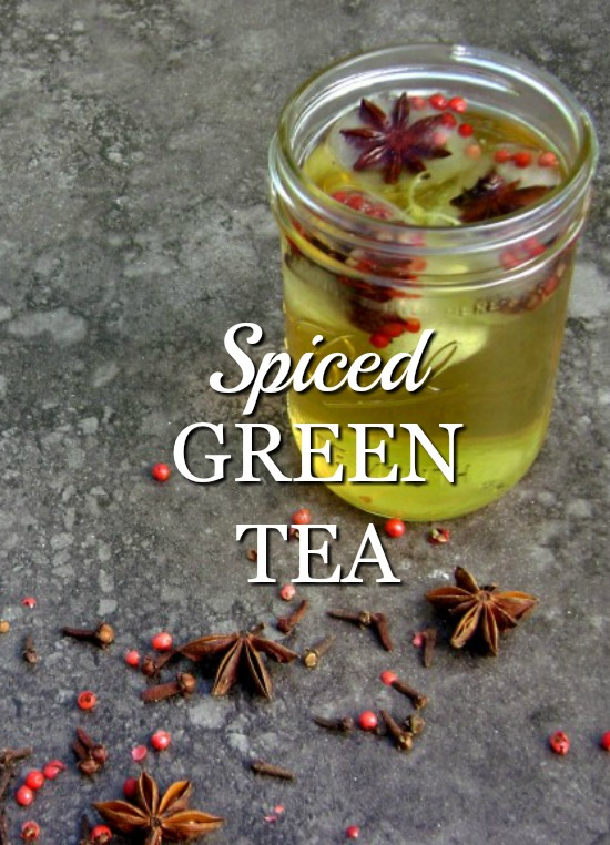 Spiced Green Tea is a unique blend of spicy and sweet. Save the spices to create beautiful ice cubes to add an extra special touch to this drink.