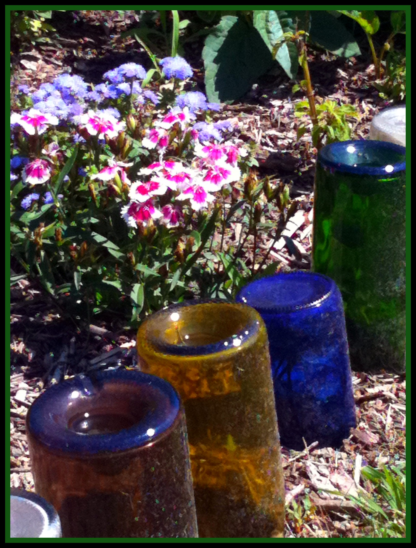 upcycle glass bottles into a garden border natural green mom