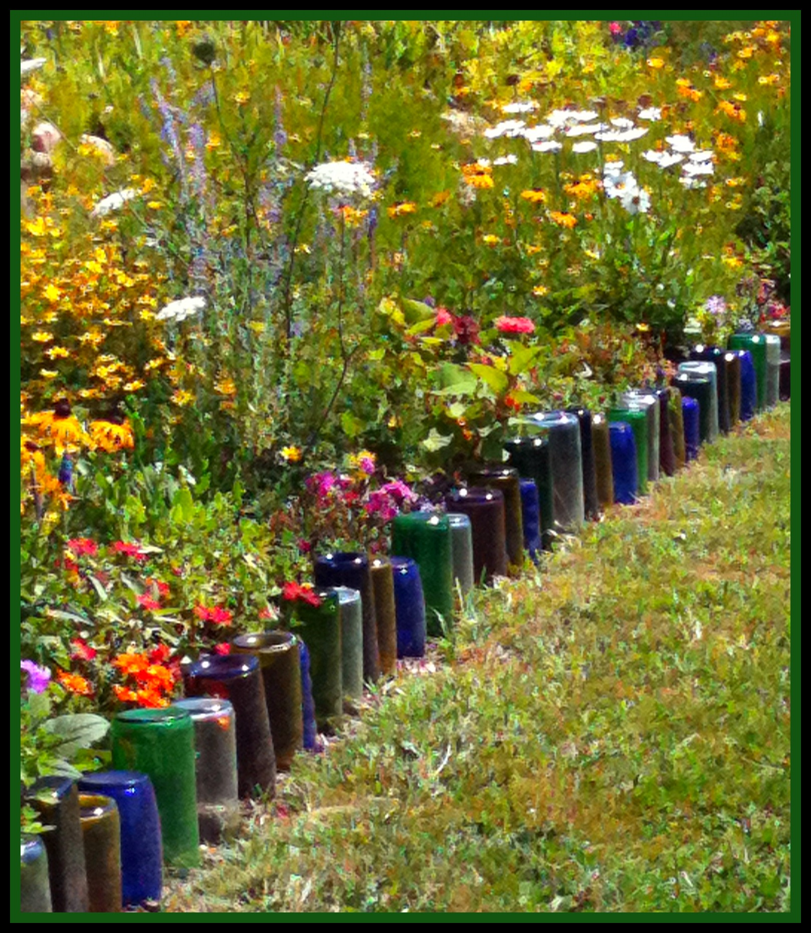 Glass Bottles Border Flower Bed