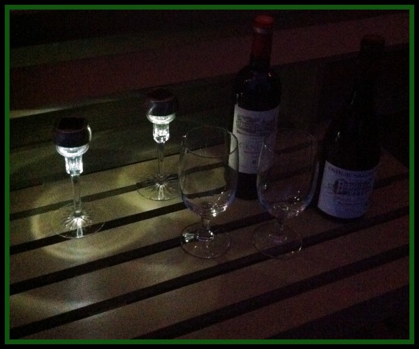 Solar Path Candlelight on Potting Bench Bar