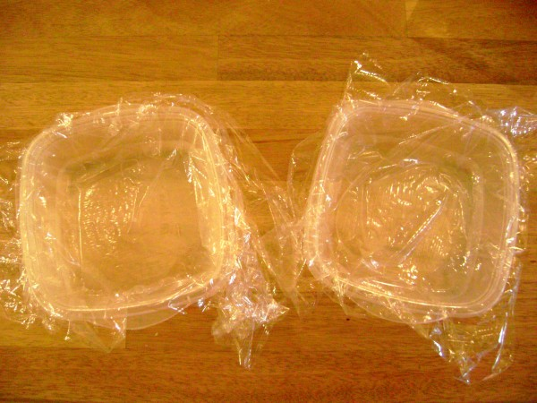 Tupperware Lined with Plastic Wrap