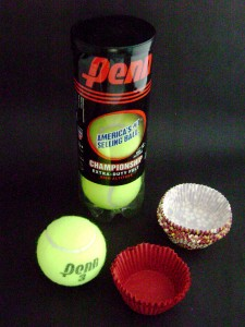 Tennis Ball canister and cupcake liners