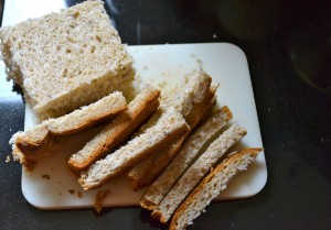 Bread Crusts Cut Off for Croutons
