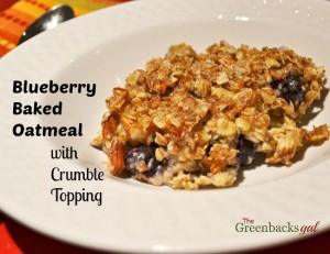 Blueberry Baked Oatmeal with Crumble Topping