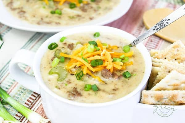 Cheeseburger Soup in bowl.