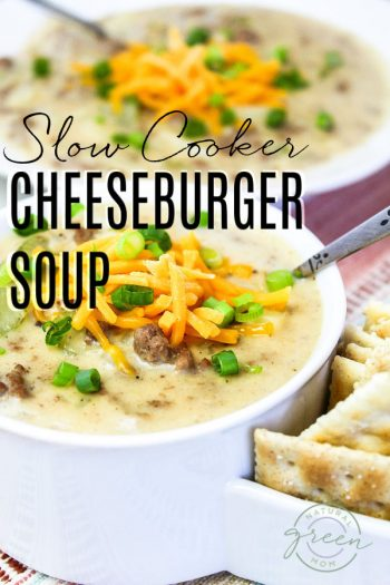 Bowl of cheeseburger soup made in the slow cooker