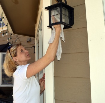 Clean outdoor light fixtures