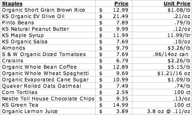 Costco Price List Organic Staples