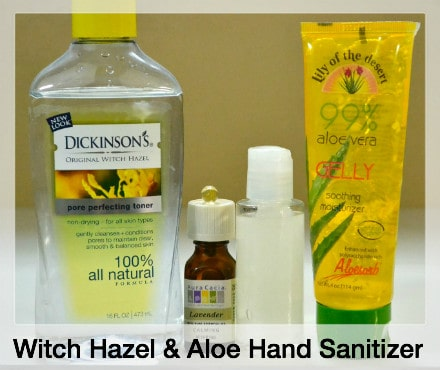 Witch hazel, lavender essential oil, vitamin E, and aloe vera are next to a bottle of hand sanitzer showing how to make hand sanitizer.