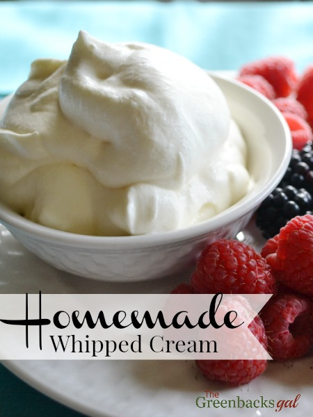 It is so easy to make Homemade Whipped Cream and it tastes so much better than the canned stuff!