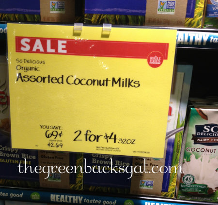 Whole Foods Market So Delicious Coconut Milk Sale