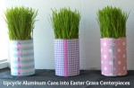 Easily Upcycle Aluminum Cans Into An Easter Grass Centerpiece