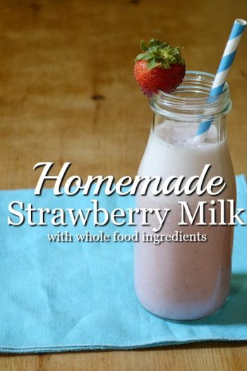 Homemade Strawberry Milk made without any artificial ingredients. Your kids will love it!