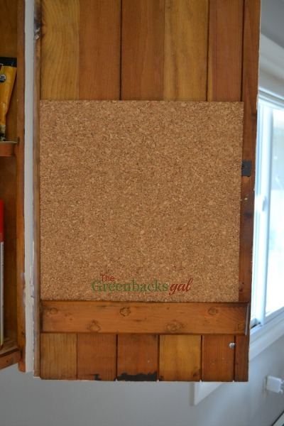 Corkboard organization inside cabinet door