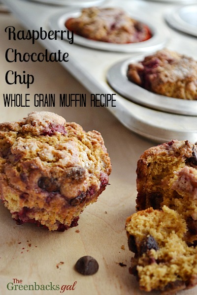 Raspberry Chocolate Chip Whole Grain Muffin Recipe