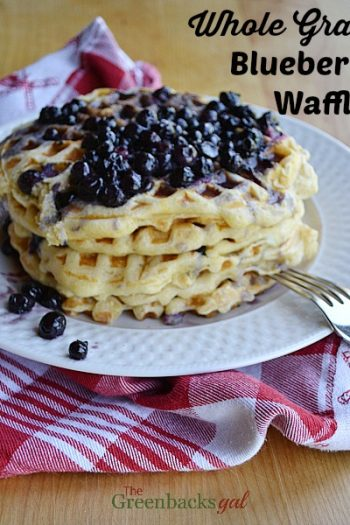 Homemade Whole Grain Blueberry Waffles with Blueberry Syrup