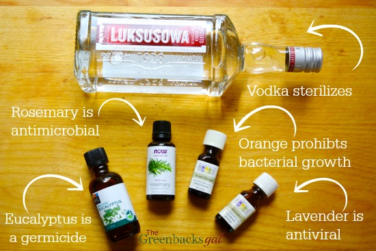 DIY Natural Disinfectant like Lysol Ingredients Include vodka and essential oils