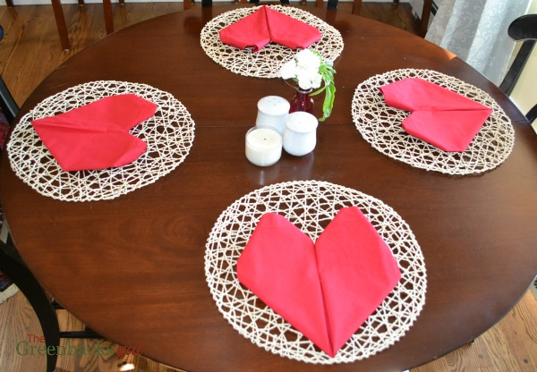 Table Set with Napkins Folded into a Heart