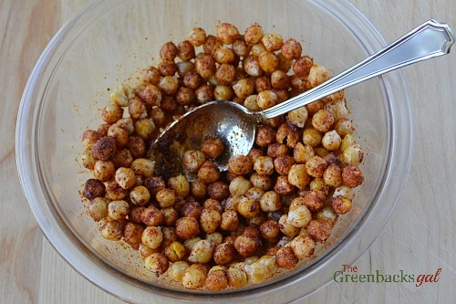 coat chickpeas with seasoning