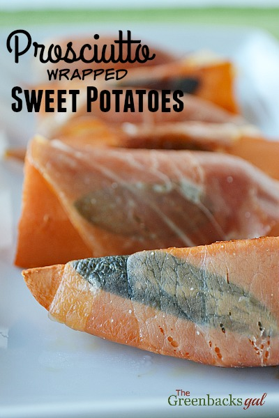 Three simple ingredients are all you need for prosciutto wrapped sweet potatoes.