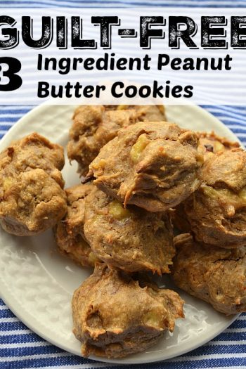 Guilt Free Three Ingredient Peanut Butter Cookies Paleo Recipe has no added sugar and no flour