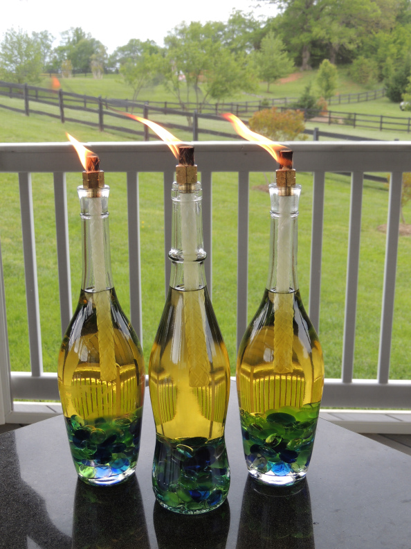 Wine Bottles Upcycled into Tiki Torches