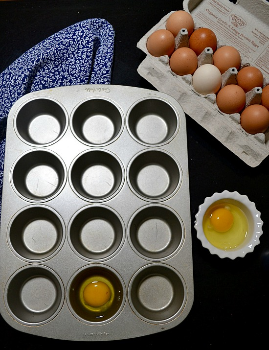 Muffin tin egg sandwiches are easy to whip up. Make a batch to freeze and you'll have a healthy breakfast on mornings when you are on the go.