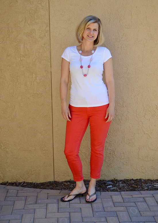 Spring Capsule Wardrobe 2016. Coral jeans with a white tee. Perfect for stay at home moms.
