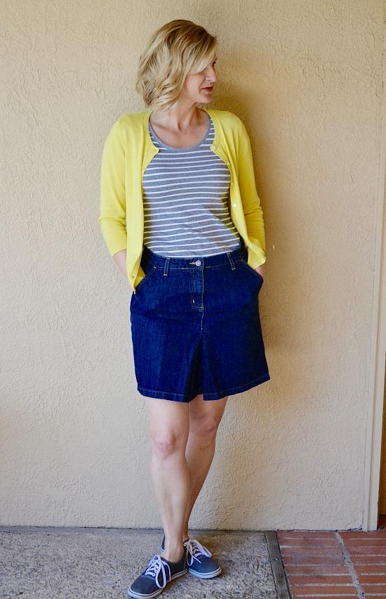 Spring Capsule Wardrobe Ideas for a Stay at Home Mom. Denim mini with grey striped T and a yellow cardigan.