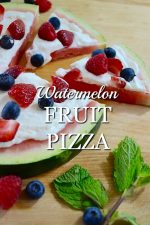 Healthy Watermelon Fruit Pizza with Cream Cheese Frosting