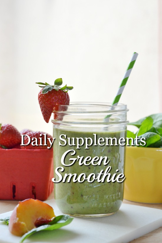 Adding my daily supplements to a green smoothie is a great way to pack a ton of nutrition into one tasty drink.