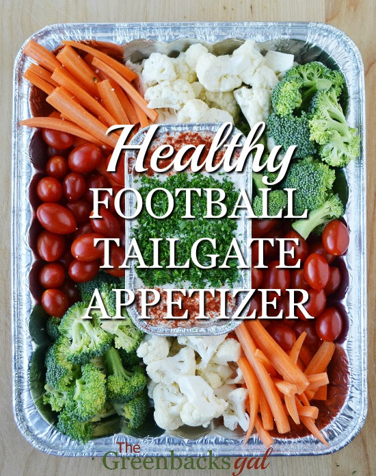 Ready to make the easiest healthy football tailgate appetizer? All you need is an assortment of veggies, some homemade dip, and some recyclable pans