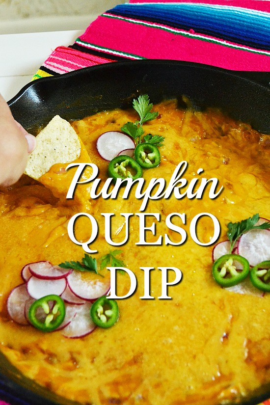 An easy queso dip recipe with smooth pumpkin, gooey cheese, and smokey chipotles. This healthy homemade recipe has no Velveeta, only read food ingredients. Make it quickly in your cast iron skillet.