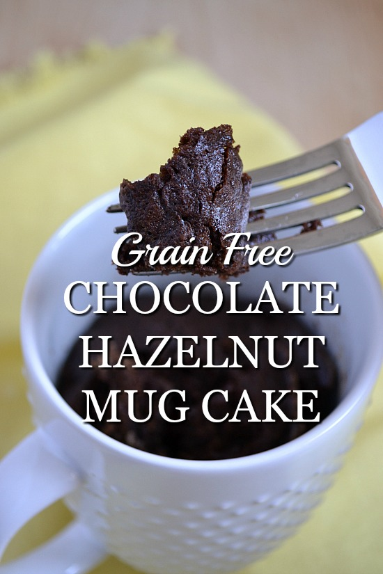 Chocolate Hazelnut Mug Cake. Warm, chocolatey, and perfectly portioned for one. It's grain free. It's made with organic chocolate hazelnut spread. It's ready in two minutes. GO!