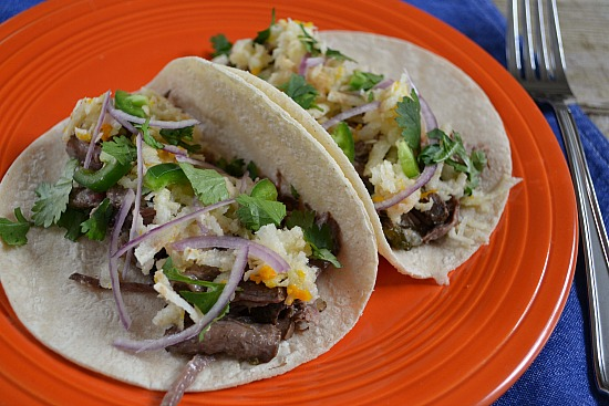 Slow Cooker Beef Roast: Cook Once, Eat Twice. Make Poblano Roast Beef the first night. Make Tacos with Jicama-Orange Slaw the next.