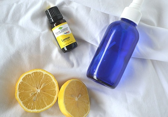 lemons, lemon essential oil, spray bottle