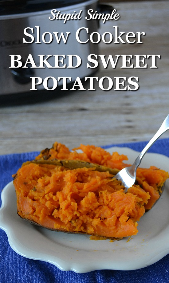 Healthy Slow Cooker Baked Sweet Potato Recipe. So stupid simple you'll never make sweet potatoes in the oven again.