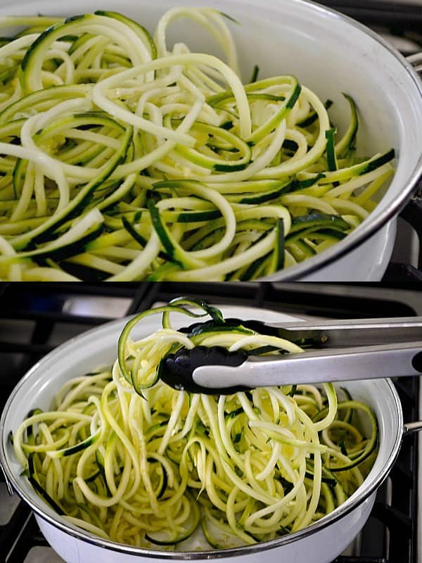 The best way to cook zucchini noodles by sauteeing