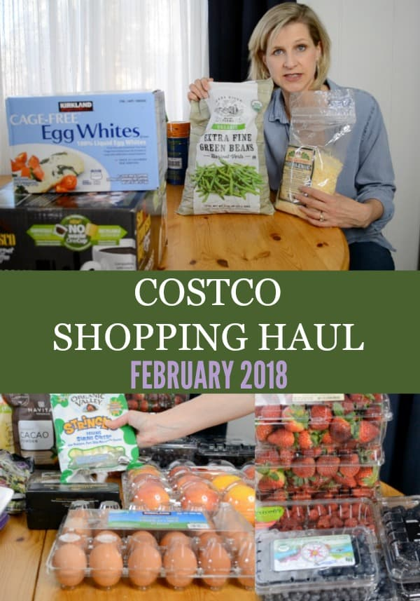 Woman holding groceries from Costco showing what to buy from Costco February 2018