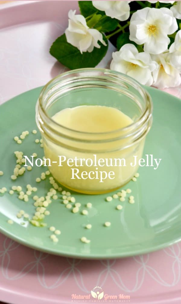 jar of non-petroleum jelly on mint green plate with flowers