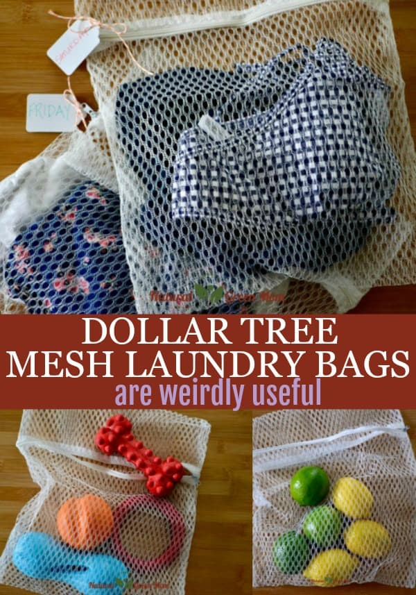 Dollar Tree mesh laundry bags are weirdly useful. Uses shown are packing cubes, dog toy organizer, and produce bag holding lemons and limes.