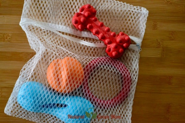 mesh laundry bag with dog toys