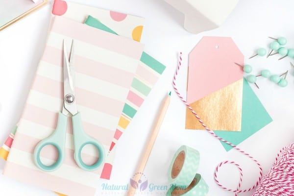mint green and pink desk supplies and crafts
