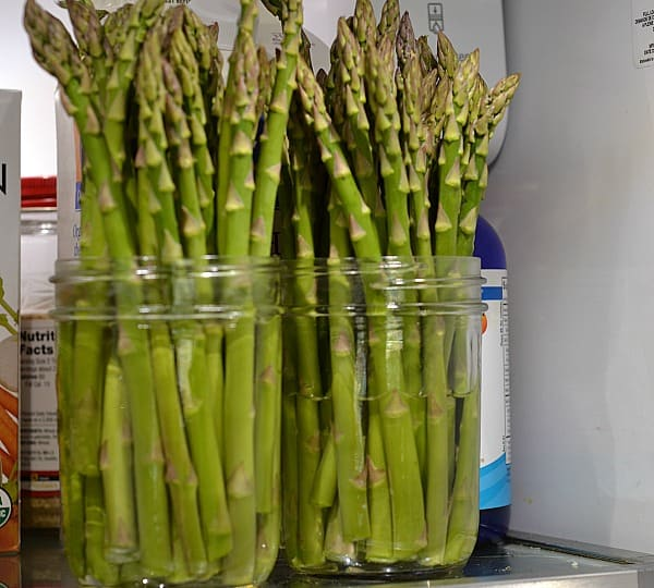 asparagus in wide mouth ball canning jar with 2 inches of water on top shelf of refrigerator demonstrating How to Store Produce So It Will Last Longer