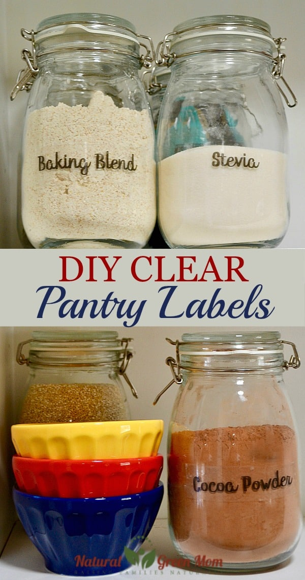 Shelving with glass jars and colorful bowls. Jars are labeled with DIY Clear Pantry Labels.