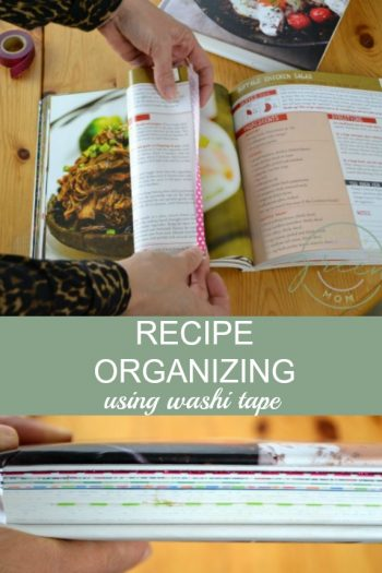 Collage of photos with title stating recipe organizing using washi tape